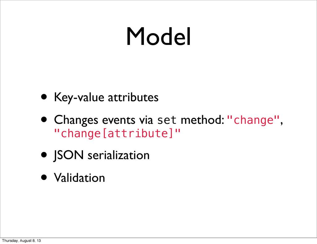 Model • Key-value attributes • Changes events v...