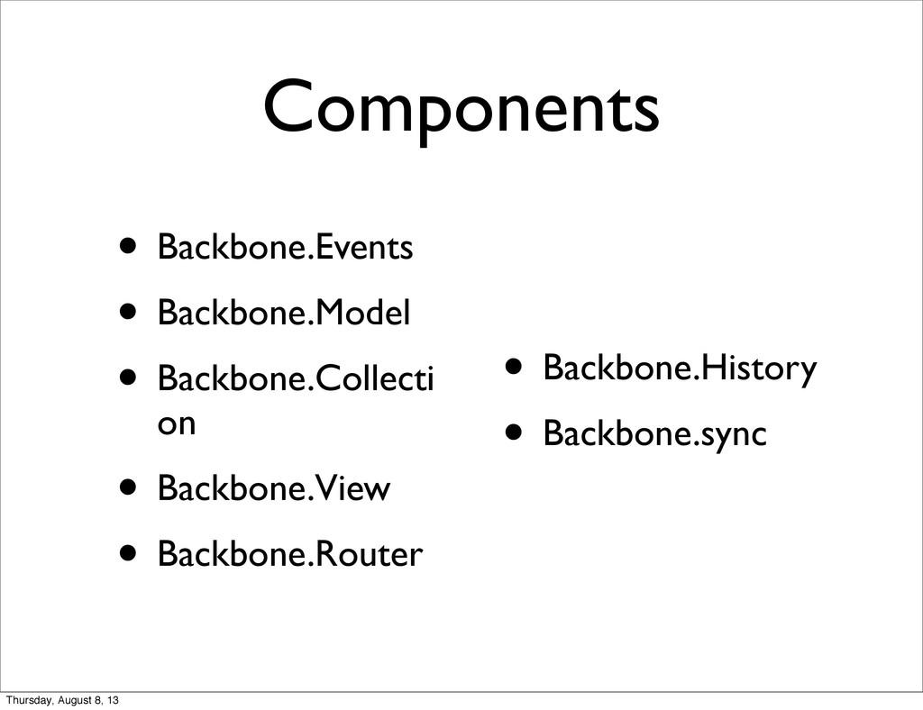 Components • Backbone.Events • Backbone.Model •...