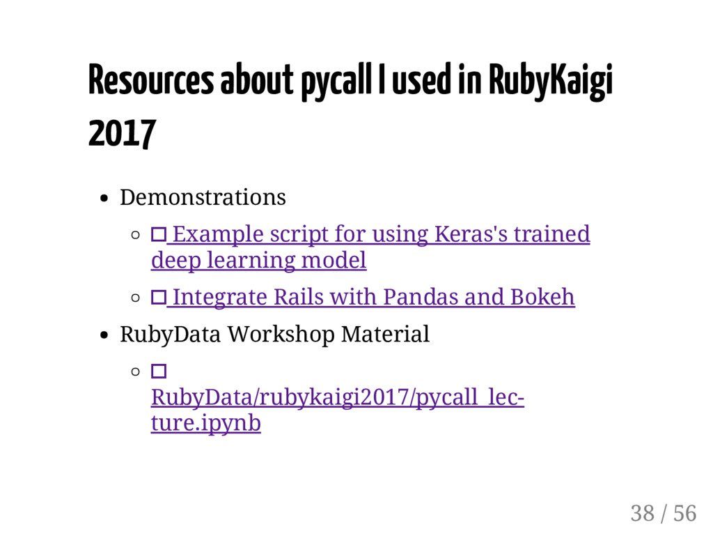 Resources about pycall I used in RubyKaigi 2017...