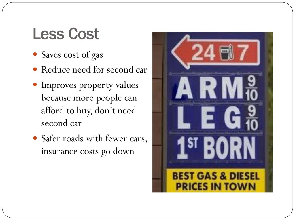 Less Cost  Saves cost of gas  Reduce need for...