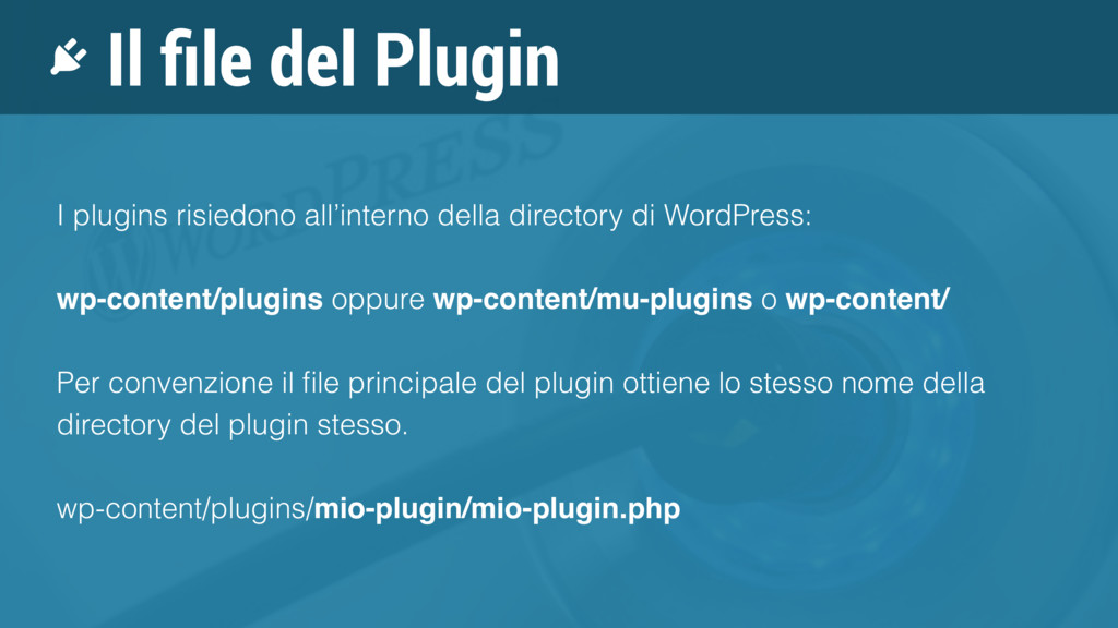 Il file del Plugin I plugins risiedono all'inter...
