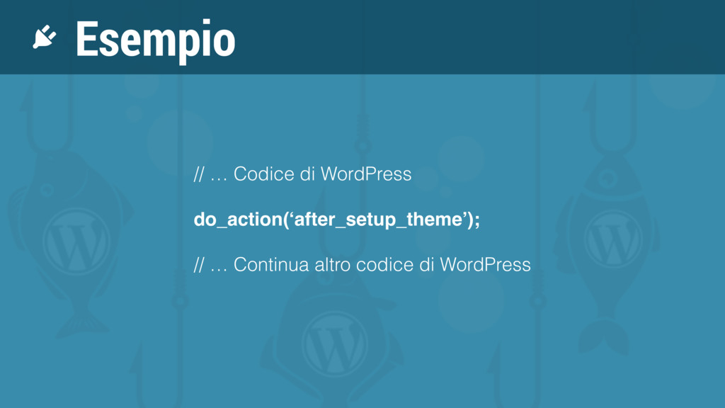 Esempio // … Codice di WordPress do_action('aft...