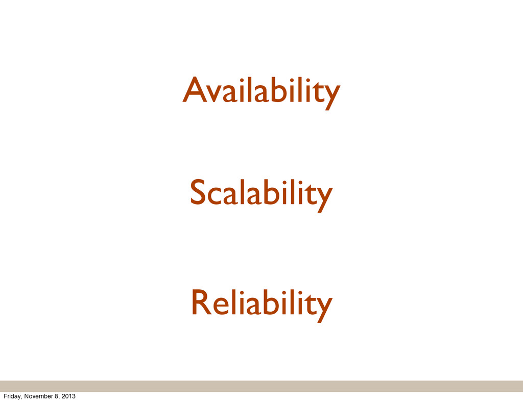 Reliability Availability Scalability Friday, No...