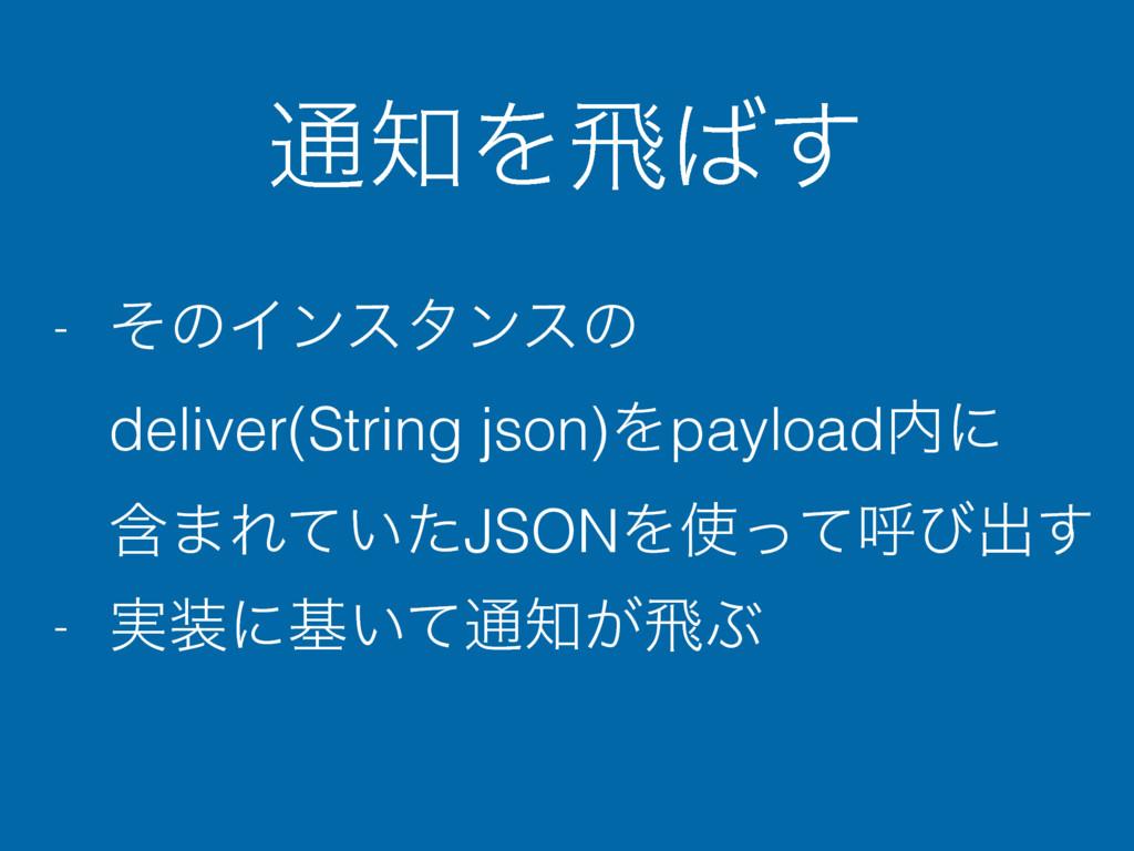 ௨Λඈ͢ - ͦͷΠϯελϯεͷ deliver(String json)Λpayloa...