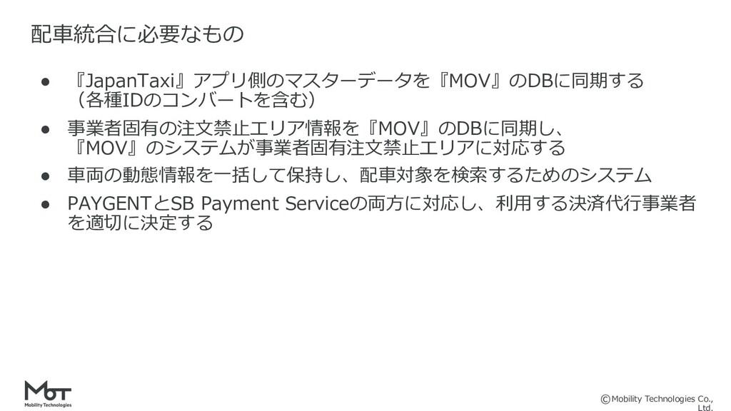 Mobility Technologies Co., ● 『JapanTaxi』アプリ側のマス...