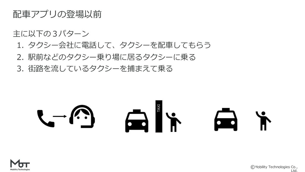 Mobility Technologies Co., 主に以下の3パターン 1. タクシー会社...