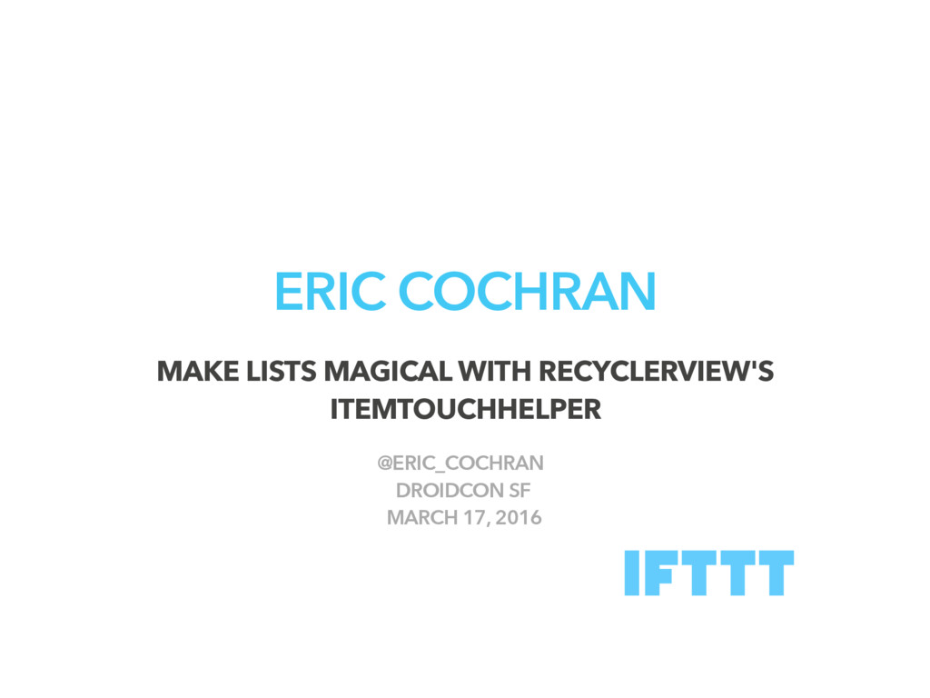 ERIC COCHRAN MAKE LISTS MAGICAL WITH RECYCLERVI...