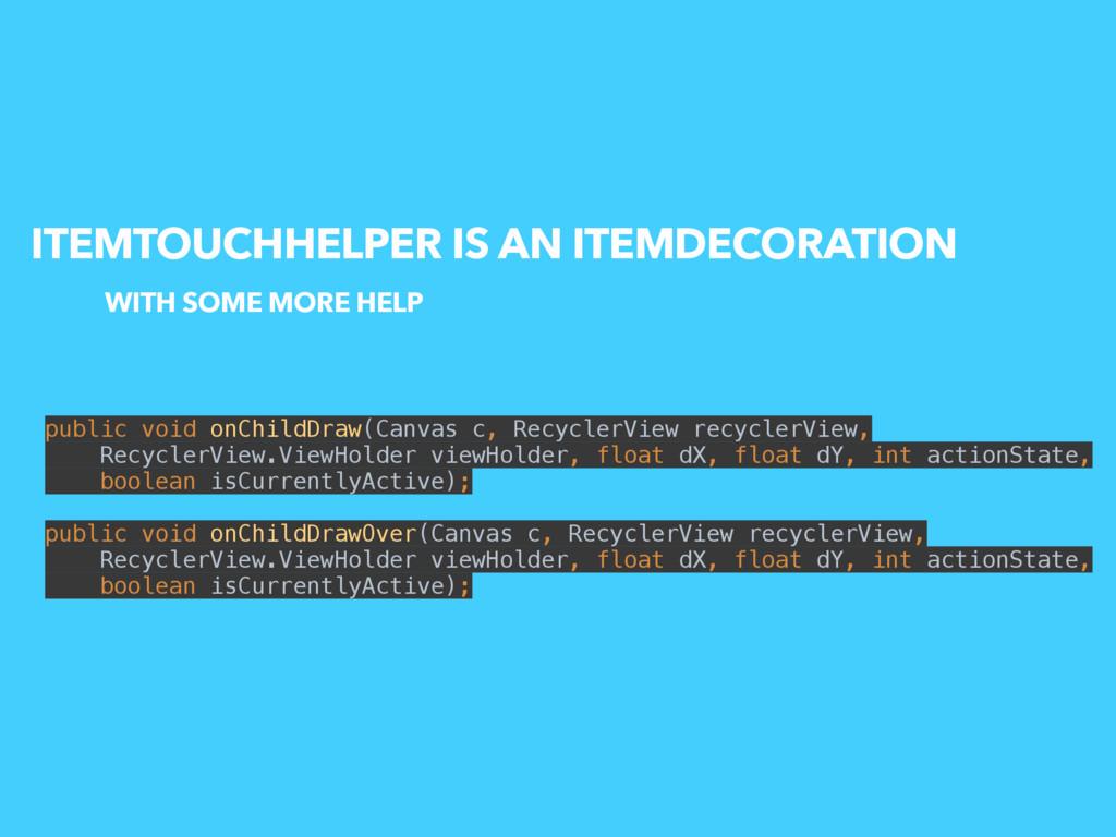 ITEMTOUCHHELPER IS AN ITEMDECORATION public voi...