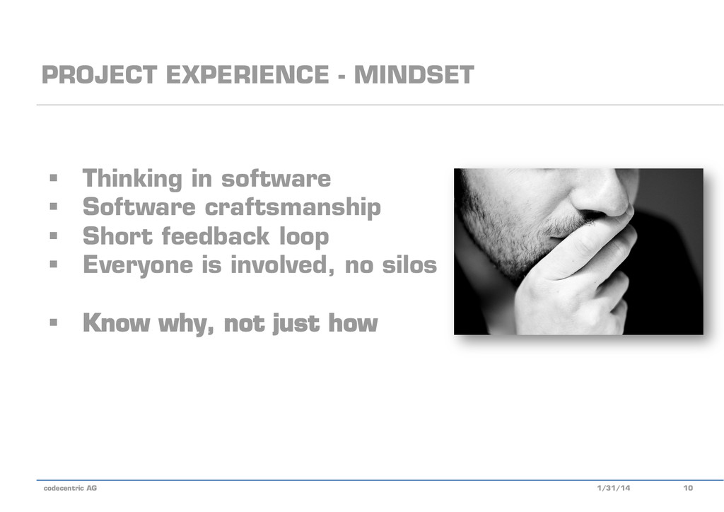 codecentric AG PROJECT EXPERIENCE - MINDSET 1/3...