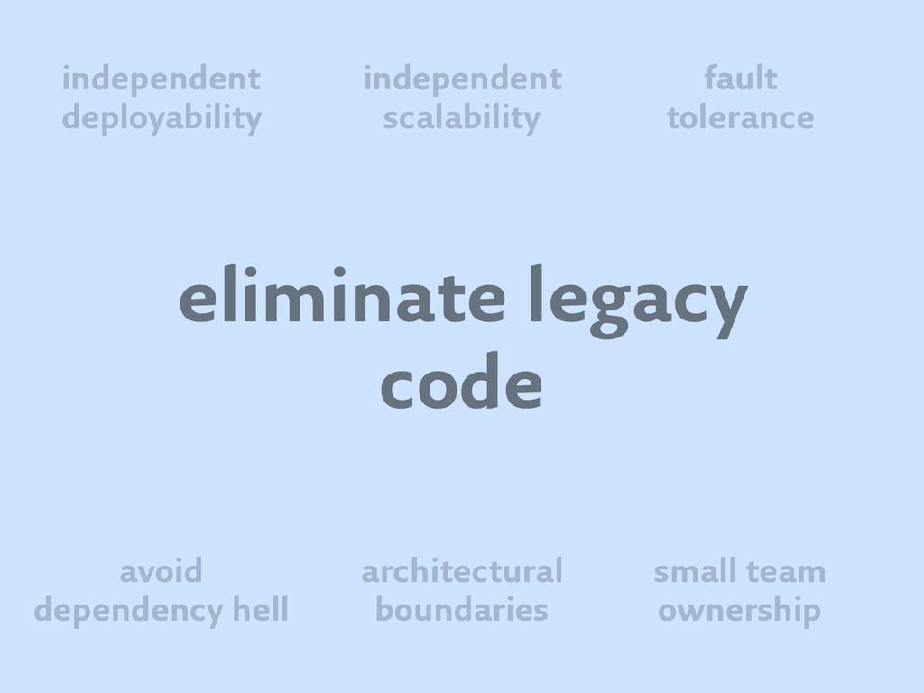 eliminate legacy code independent deployability...