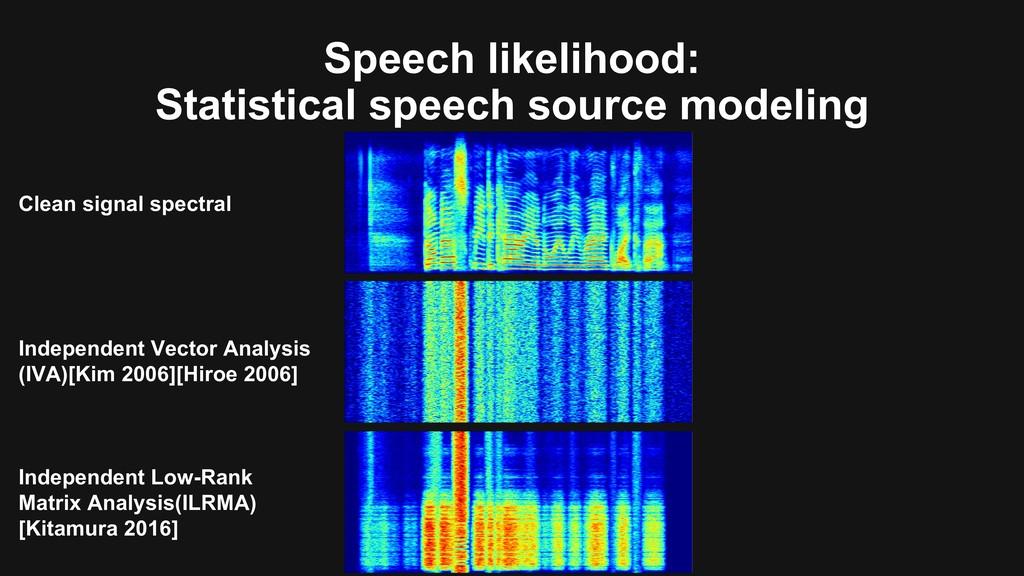 Speech likelihood: Statistical speech source mo...