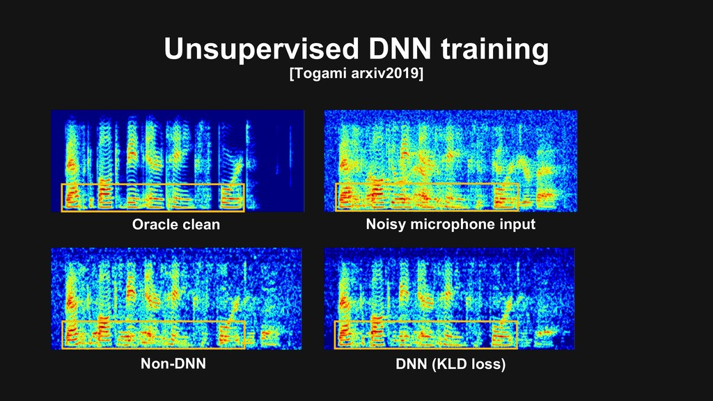 Unsupervised DNN training [Togami arxiv2019] Or...