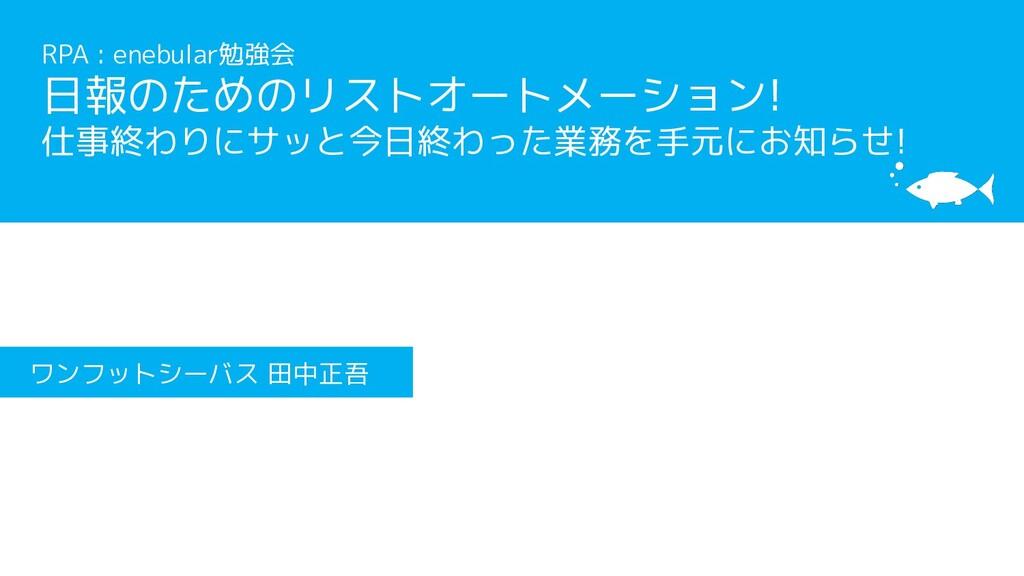 [サブタイトル] [タイトル] ワンフットシーバス 田中正吾 RPA : enebular勉強...
