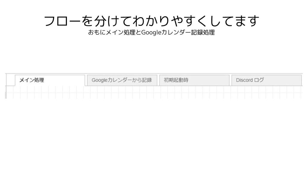 フローを分けてわかりやすくしてます おもにメイン処理とGoogleカレンダー記録処理