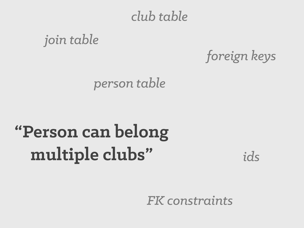"""""""Person can belong multiple clubs"""" join table p..."""