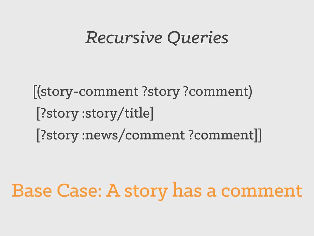 Recursive Queries [(story-comment ?story ?comme...