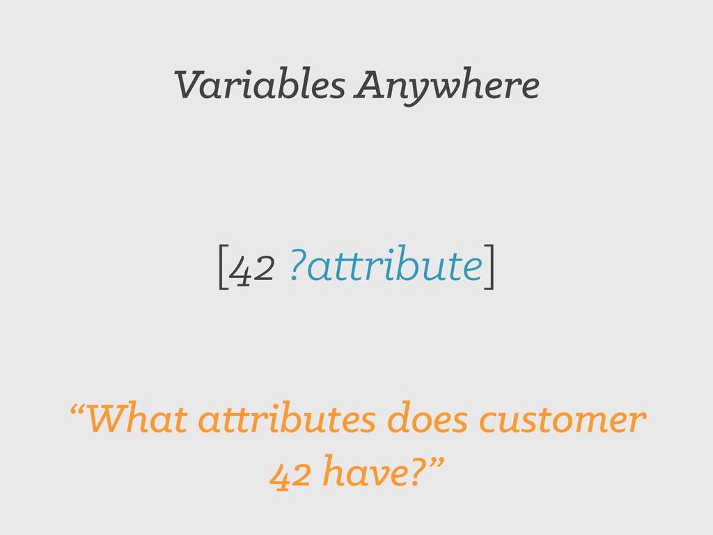 "Variables Anywhere [42 ?attribute] ""What attrib..."