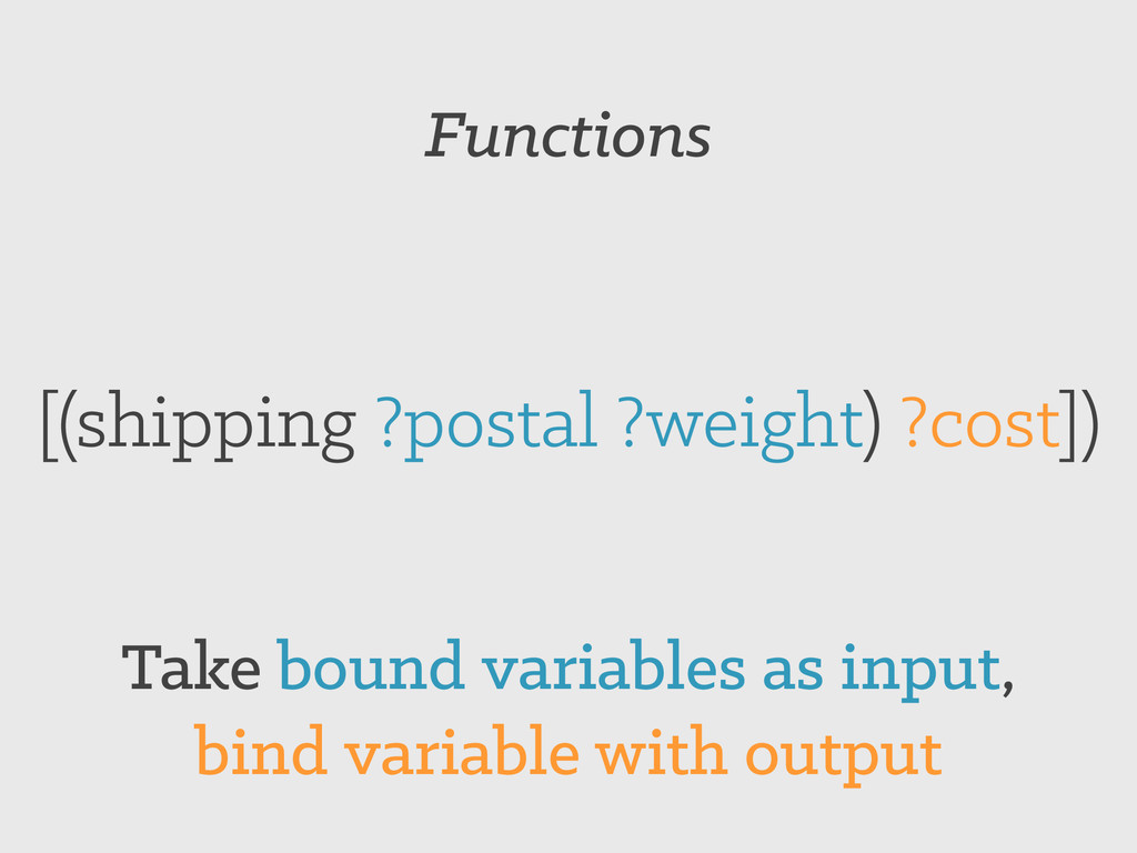 Functions [(shipping ?postal ?weight) ?cost]) T...