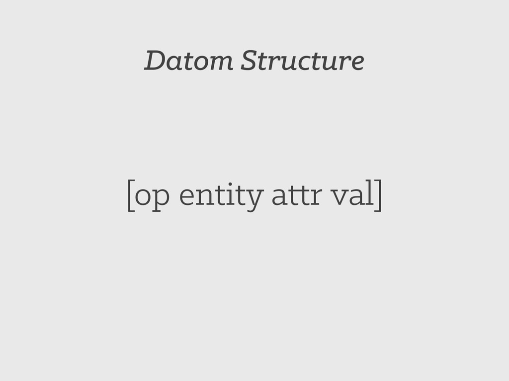Datom Structure [op entity attr val]