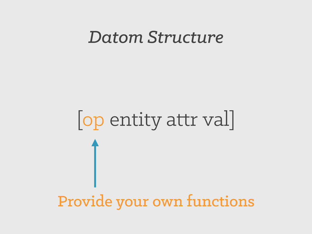 Datom Structure [op entity attr val] Provide yo...