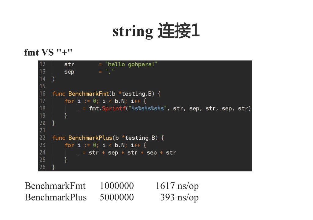 "fmt VS ""+""    string  连接1    BenchmarkFmt 10..."
