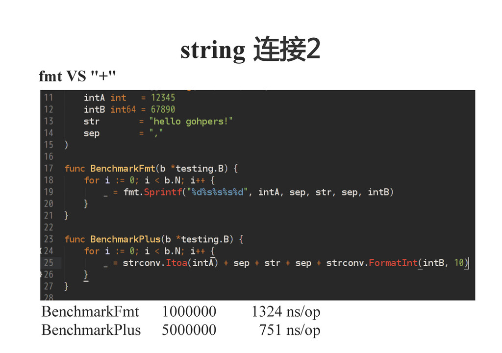 "fmt VS ""+""    string  连接2    BenchmarkFmt 10..."