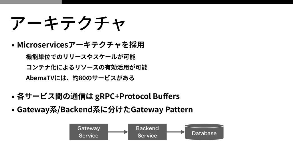 アーキテクチャ • Microservicesアーキテクチャを採⽤ 機能単位でのリリースやスケ...