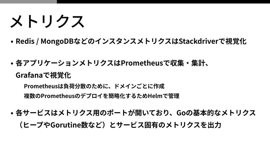 メトリクス • Redis / MongoDBなどのインスタンスメトリクスはStackdriv...