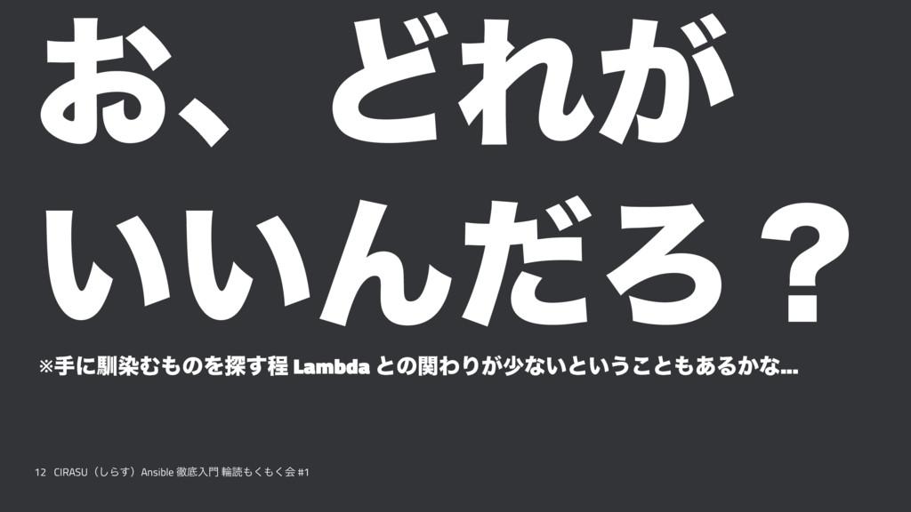 ͓ɺͲΕ͕ ͍͍ΜͩΖʁ ※खʹೃછΉͷΛ୳͢ఔ Lambda ͱͷؔΘΓ͕গͳ͍ͱ͍͏͜ͱ...