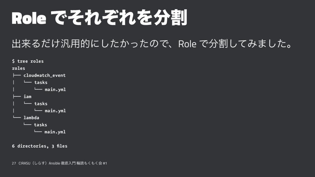 Role ͰͦΕͧΕΛׂ ग़དྷΔ͚ͩ൚༻తʹ͔ͨͬͨ͠ͷͰɺRole Ͱׂͯ͠Έ·ͨ͠ɻ ...