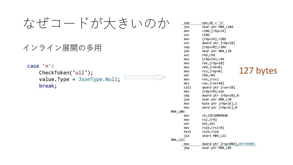 """なぜコードが大きいのか インライン展開の多用 case 'n': CheckToken(""""ul..."""