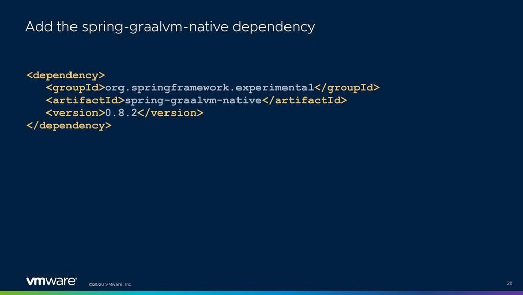 ©2020 VMware, Inc. <dependency> <groupId>org.sp...