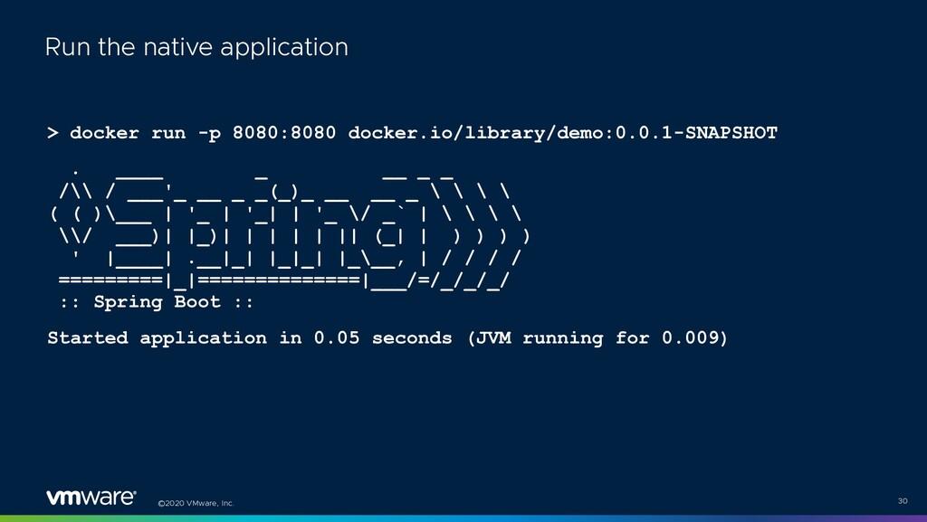 ©2020 VMware, Inc. > docker run -p 8080:8080 do...