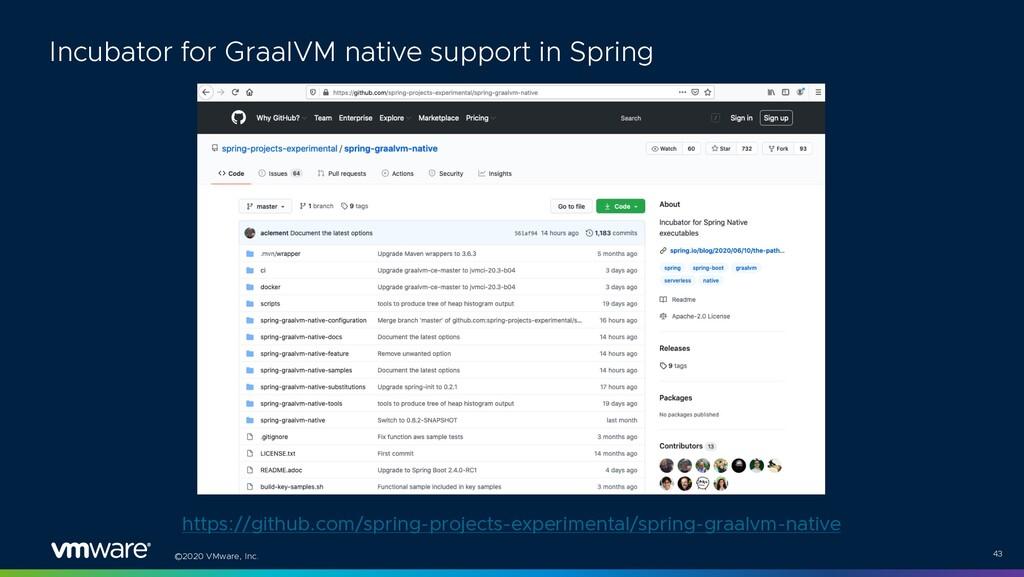 ©2020 VMware, Inc. 43 Incubator for GraalVM nat...
