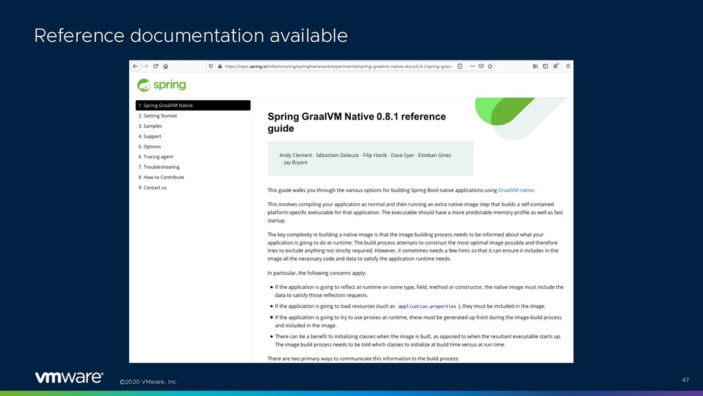 ©2020 VMware, Inc. 47 Reference documentation a...