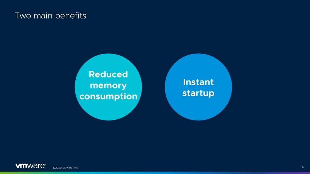 ©2020 VMware, Inc. 6 Two main benefits Reduced ...