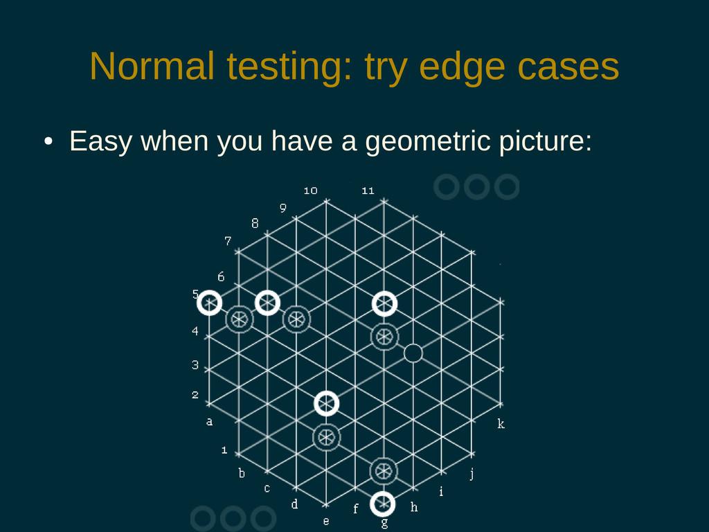 Normal testing: try edge cases ● Easy when you ...