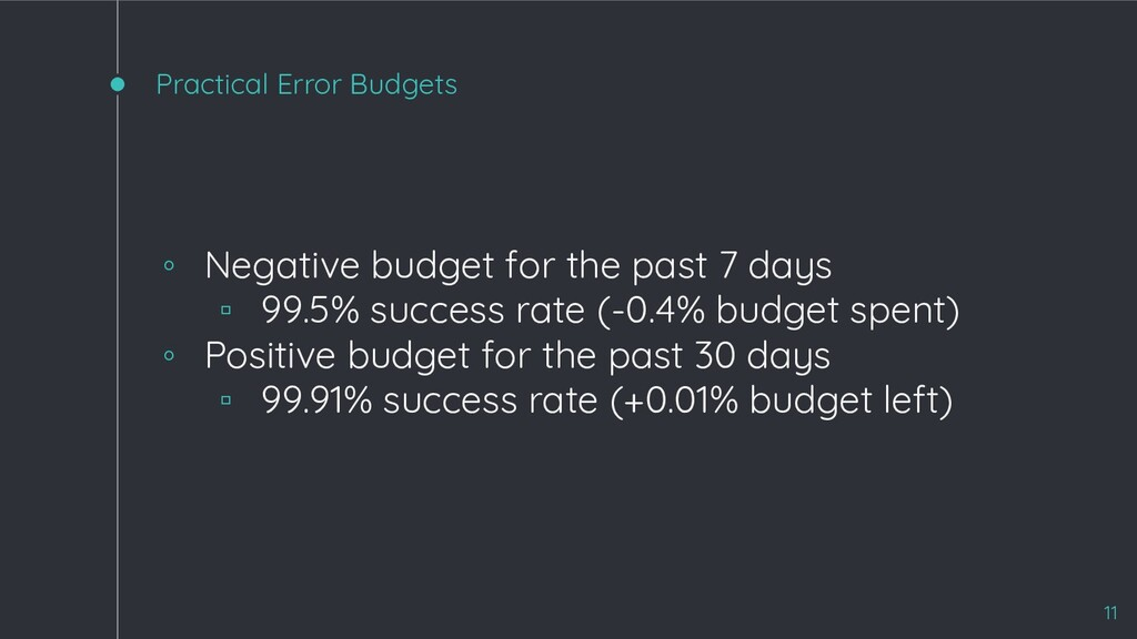 Practical Error Budgets 11 ◦ Negative budget fo...