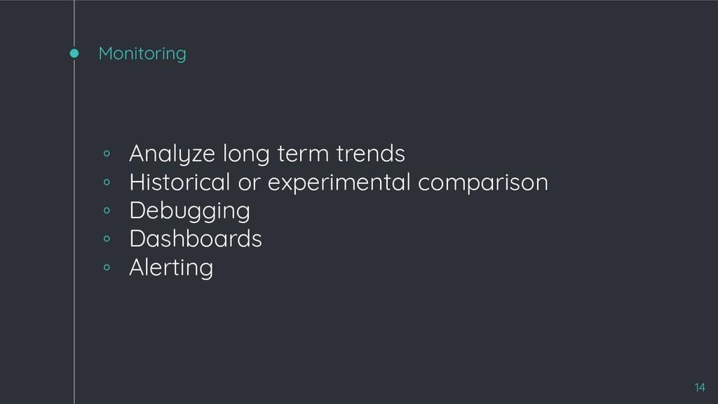 Monitoring ◦ Analyze long term trends ◦ Histori...