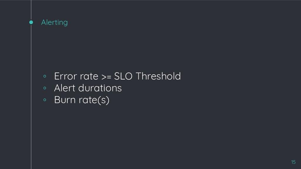 Alerting ◦ Error rate >= SLO Threshold ◦ Alert ...