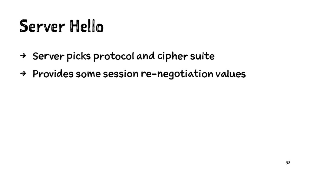 Server Hello 4 Server picks protocol and cipher...