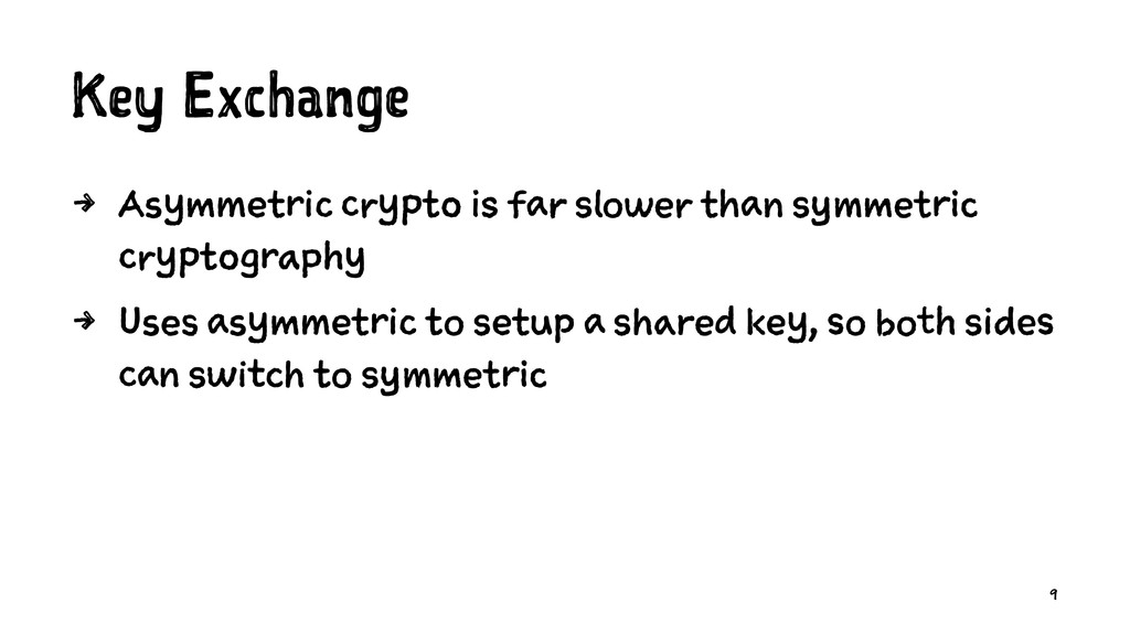 Key Exchange 4 Asymmetric crypto is far slower ...