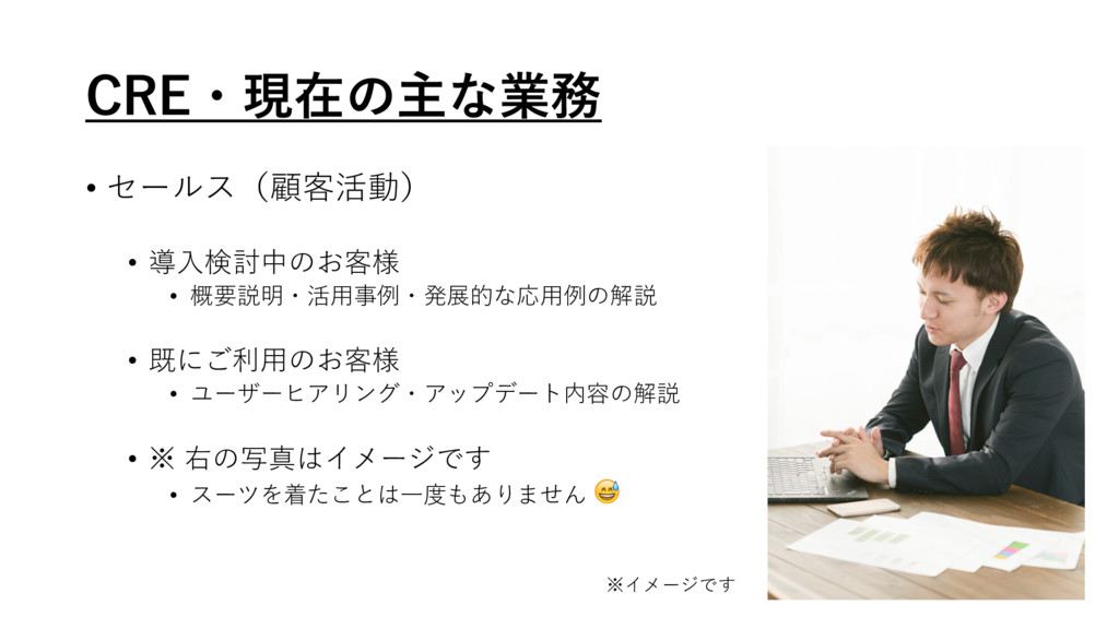 $3&ɾݱࡏͷओͳۀ • セールス(顧客活動) • 導⼊検討中のお客様 • 概要説明・活⽤事...