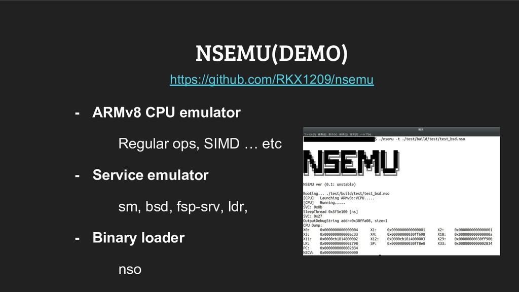 NSEMU(DEMO) - ARMv8 CPU emulator Regular ops, S...
