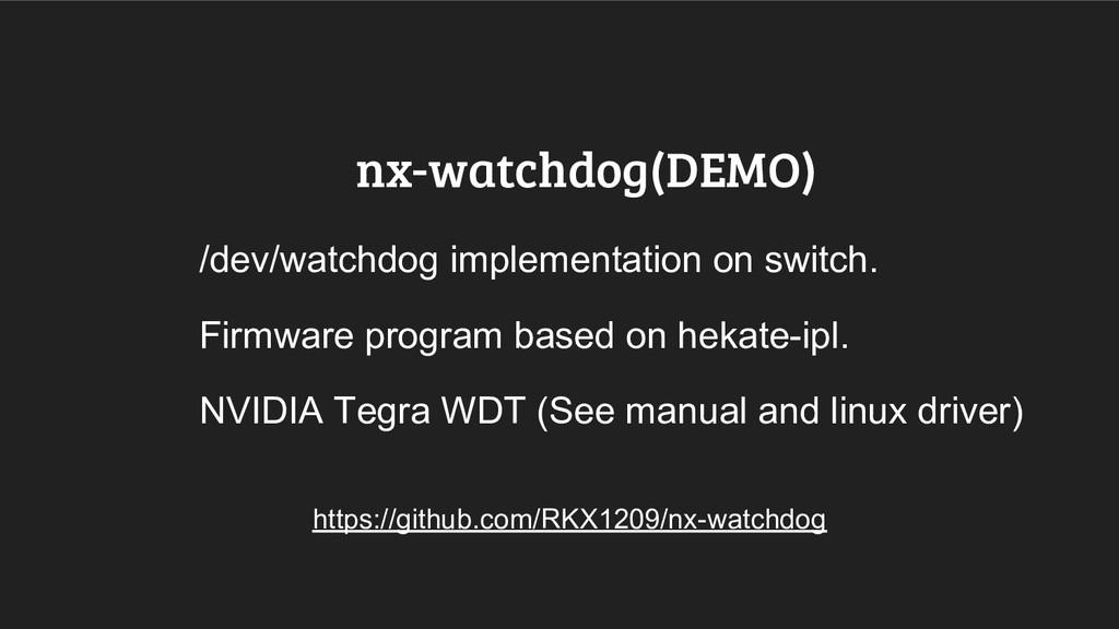 nx-watchdog(DEMO) /dev/watchdog implementation ...