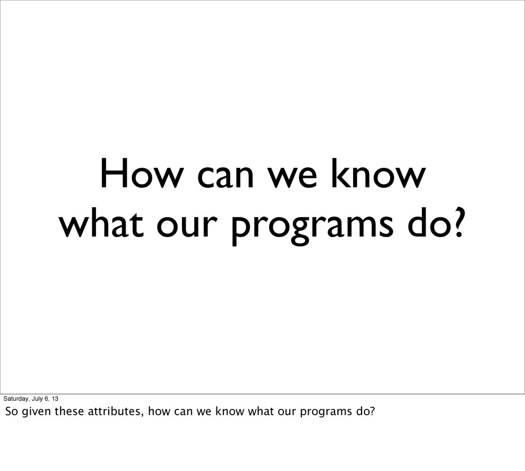 How can we know what our programs do? Saturday,...
