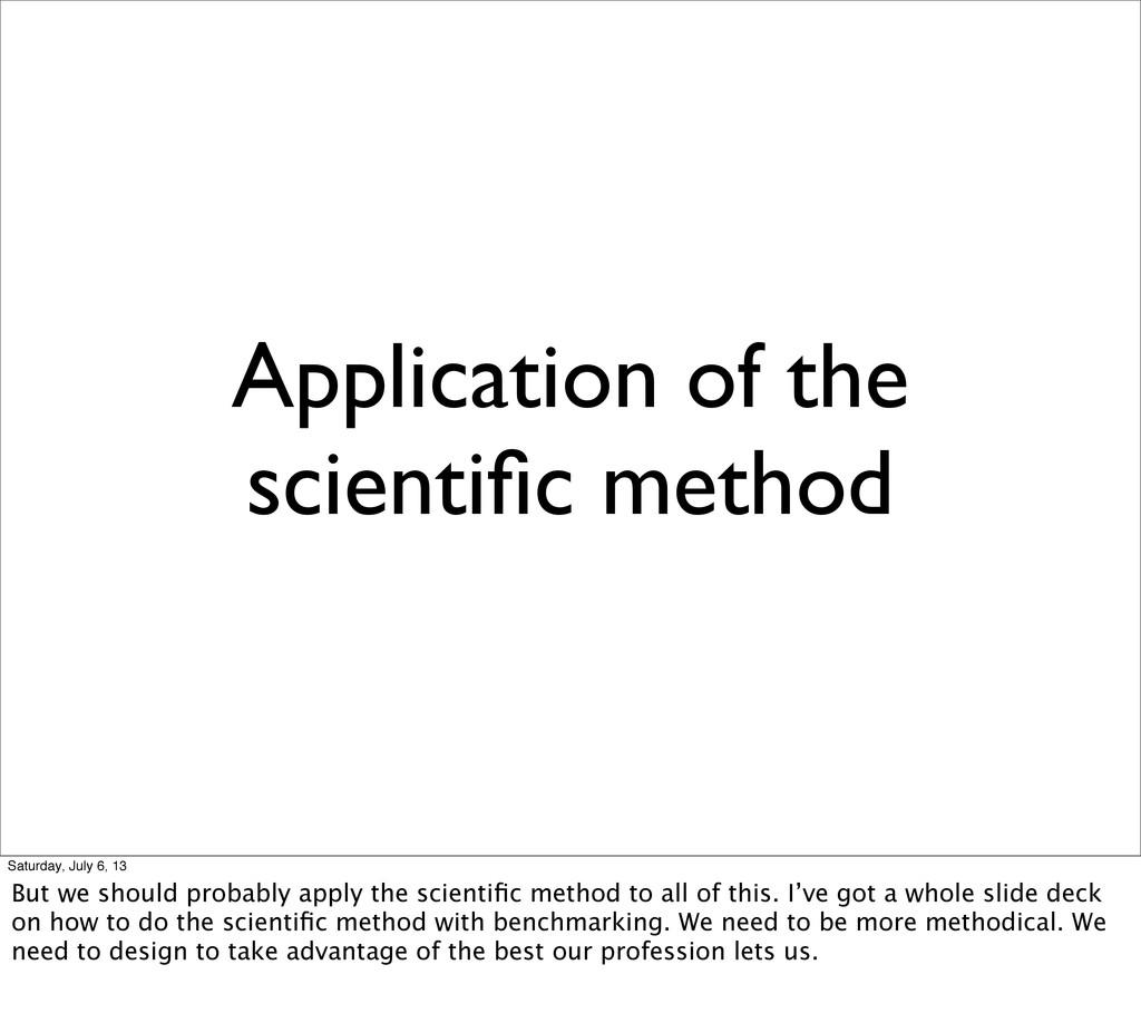 Application of the scientific method Saturday, J...