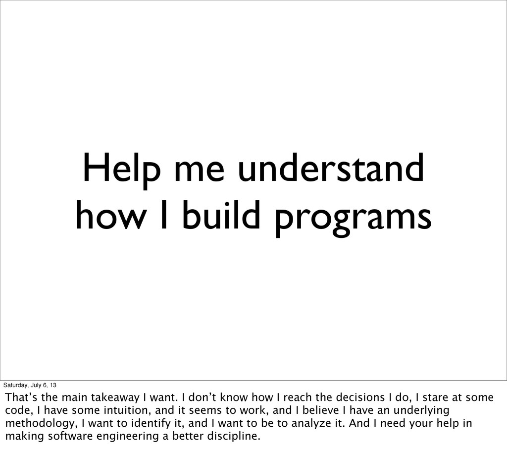 Help me understand how I build programs Saturda...