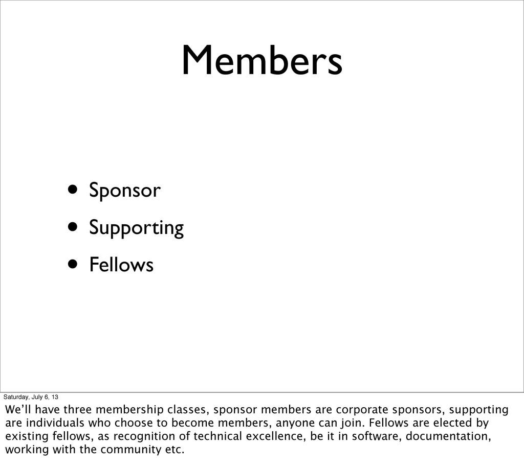 Members • Sponsor • Supporting • Fellows Saturd...