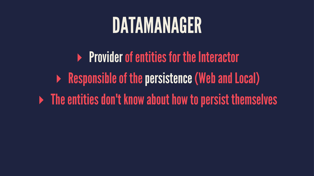 DATAMANAGER ▸ Provider of entities for the Inte...
